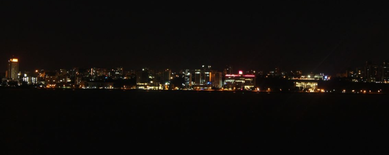 View of Maputo skyline at night from Catembe Gallery Hotel